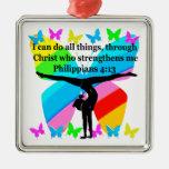 CHRISTIAN GYMNAST INSPIRATIONAL BIBLE DESIGN METAL ORNAMENT