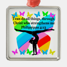 Christian Gymnast Inspirational Bible Design Metal Ornament at Zazzle