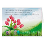 Christian Happy Easter Bible Verse Tulips & Clouds Card
