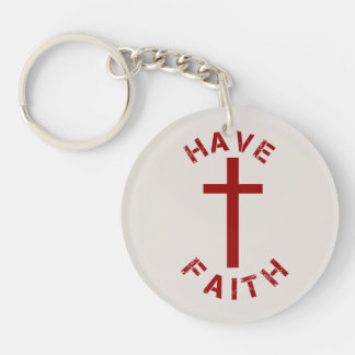 Christian Have Faith Red Cross and Text Design Keychain