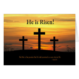 Christian He is Risen Easter Celebration w/ Cross Card