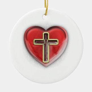Christian Heart Ceramic Ornament