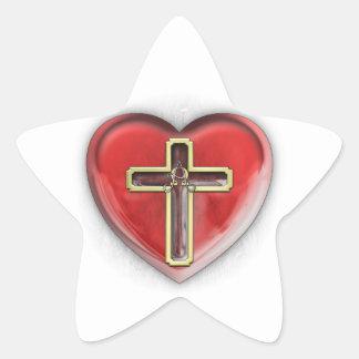 Christian Heart Star Sticker