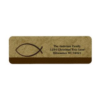 Christian Ichthys Fish Symbol Personalized Label