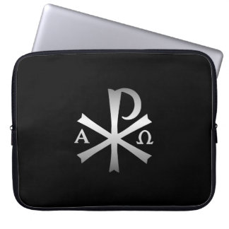 Christian Icon Alpha and Omega Labarum Laptop Sleeves