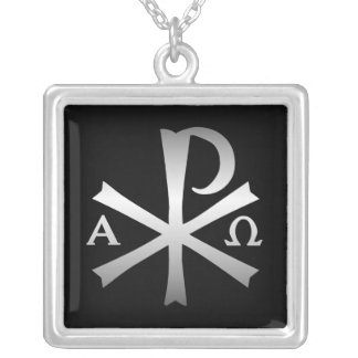 Christian Icon Labarum with Alpha and Omega Square Pendant Necklace