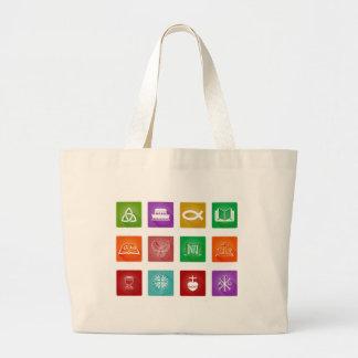 Christian Icon Set Large Tote Bag