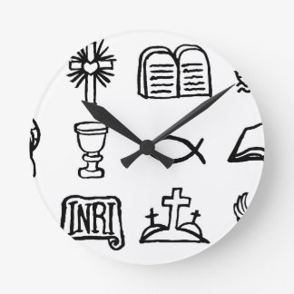 Christian Icon Set Round Clock