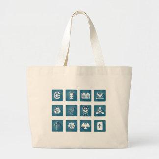 Christian Icon Symbols Large Tote Bag