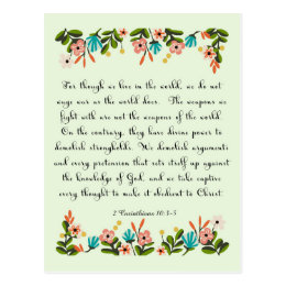 Christian inspirational Art - 2 Corinthians 10:3-5 Postcard