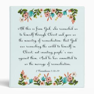 Christian inspirational Art- 2 Corinthians 5:18-19 3 Ring Binder