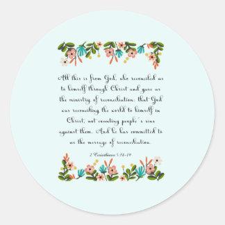 Christian inspirational Art- 2 Corinthians 5:18-19 Classic Round Sticker