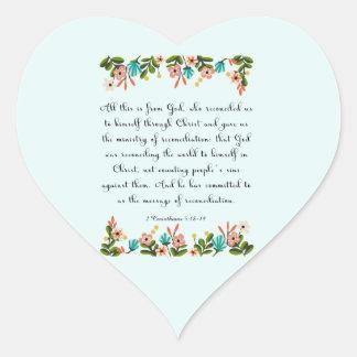 Christian inspirational Art- 2 Corinthians 5:18-19 Heart Sticker