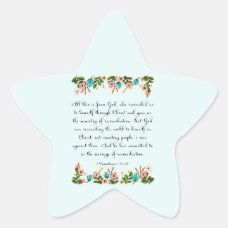 Christian inspirational Art- 2 Corinthians 5:18-19 Star Sticker