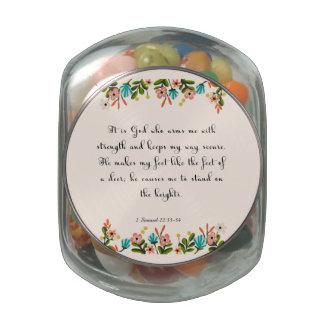 Christian inspirational Art - 2 Samuel 22:33-34 Glass Candy Jars