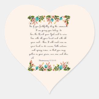 Christian inspirational Art - Deuteronomy 11:13-14 Heart Sticker