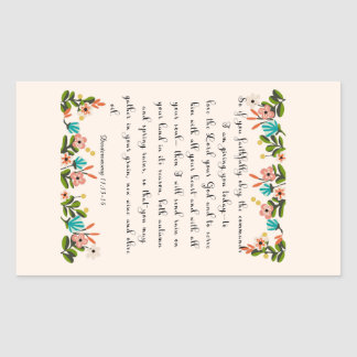 Christian inspirational Art - Deuteronomy 11:13-14 Rectangular Sticker