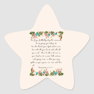 Christian inspirational Art - Deuteronomy 11:13-14 Star Sticker