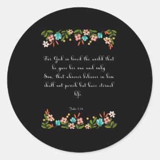 Christian Inspirational Art - John 3:16 Classic Round Sticker