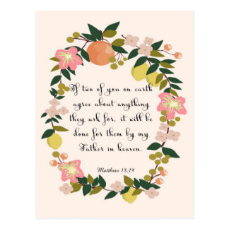 Christian inspirational Art - Matthew 18:19 Postcard