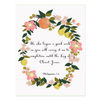 Christian inspirational Art - Philippians 1:6 Postcard
