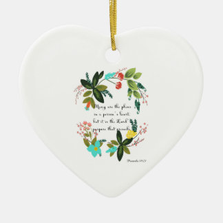 Christian inspirational Art - Proverbs 19:21 Double-Sided Heart Ceramic Christmas Ornament