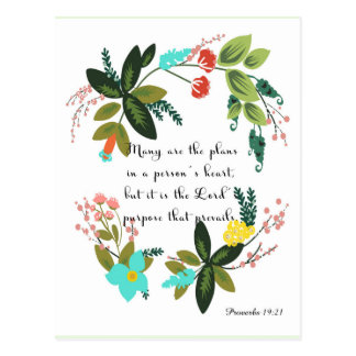 Christian inspirational Art - Proverbs 19:21 Postcard