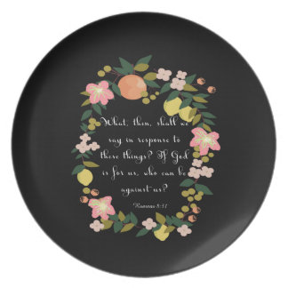 Christian inspirational Art - Romans 8:31 Dinner Plate