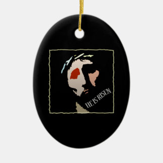 Christian Jesus Christ He is Risen Religious Double-Sided Oval Ceramic Christmas Ornament