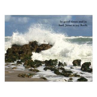 Christian Jesus is my Rock postcard, Religious Postcard