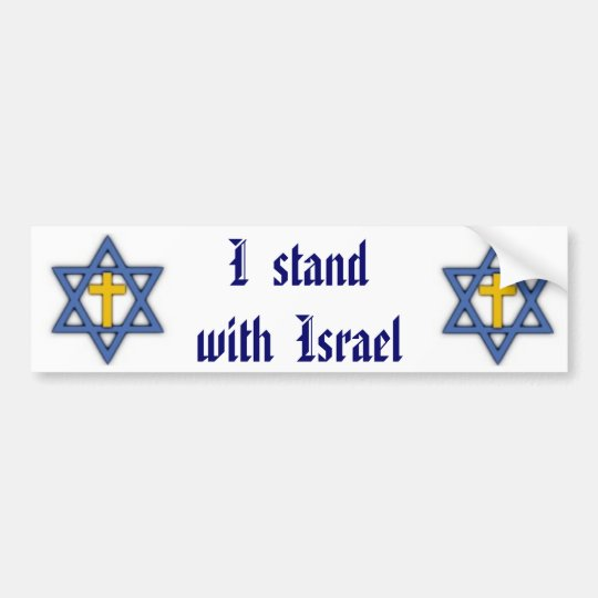 Christian Jewish Support for Israel Bumper Sticker
