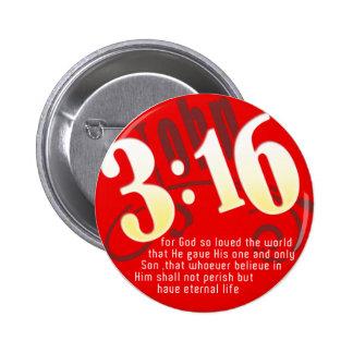 Christian - John 3:16 Pinback Buttons