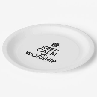 """Christian KEEP CALM AND WORSHIP Paper Plates 9"""""""