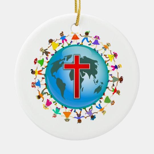 Christian Kids Ceramic Ornament