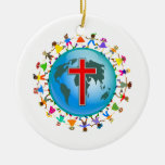 Christian Kids Double-Sided Ceramic Round Christmas Ornament