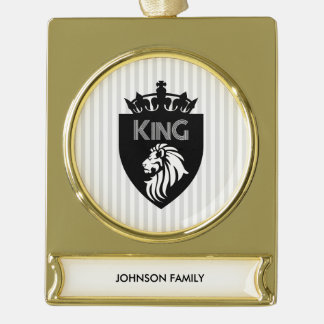 Christian King of Kings Lion Gold Plated Banner Ornament