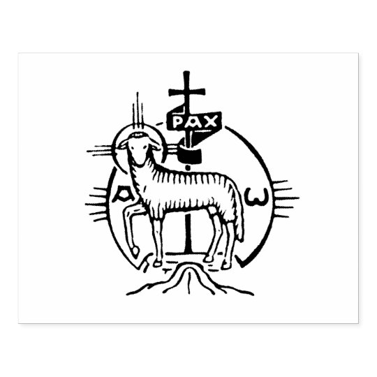 Christian Lamb Of God Cross Pax Icon Rubber Stamp Zazzle