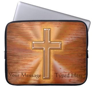 Christian Laptop Cases with Golden Cross Bursting Laptop Computer Sleeve