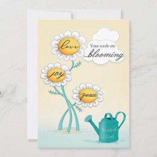 Christian Love Joy Peace Blooming Daisies Thank You Card