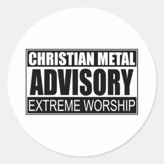 Christian Metal Advisory... Classic Round Sticker