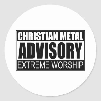 Christian Metal Advisory Round Stickers
