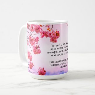 Christian mug with scriptures and cherry blossom