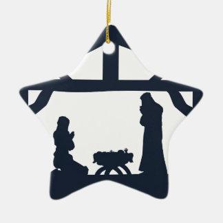Christian Nativity Christmas Scene Silhouettes Ceramic Ornament