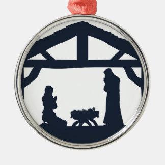 Christian Nativity Christmas Scene Silhouettes Metal Ornament