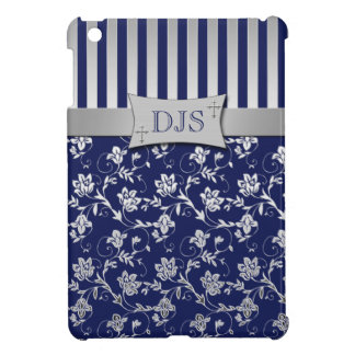 Christian Navy Blue, Silver Floral iPad Mini Case