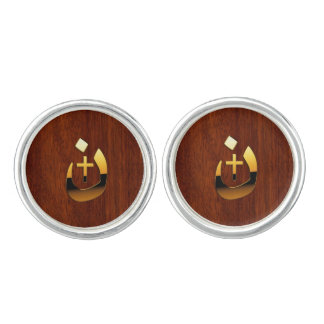 Christian Nazarene Cross Symbols in Gold Cufflinks