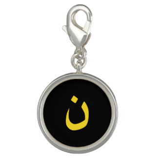 Christian Nazarene Symbol in yellow on Black Photo Charms