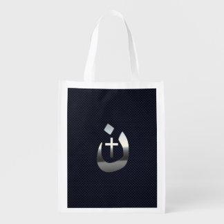 Christian Nazarene Symbol on Navy Blue Reusable Grocery Bag