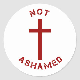 Christian Not Ashamed Red Cross and Text Design Classic Round Sticker