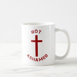 Christian Not Ashamed Red Cross Text Design Coffee Mug